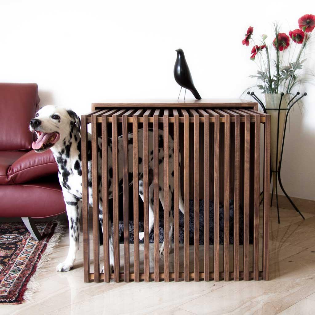 Indoorhundebox Stockholm 2.0 in Größe Large aus Nussholz